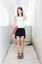 black Sfinga sandals - red Zara bag - black Rick Owens shorts