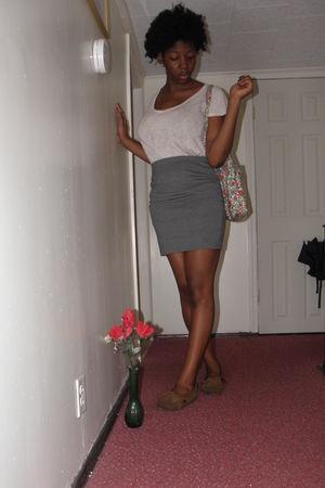 gray Forever 21 skirt - beige Minnetonka shoes - pink Forever 21 shirt - green p