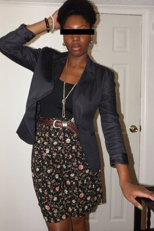 black shorts - brown belt - black Capezio swimwear - brown Christina Siriano for