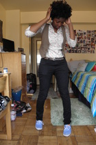 beige Urban Outfitters blouse - brown Forever 21 vest - brown flea market belt -