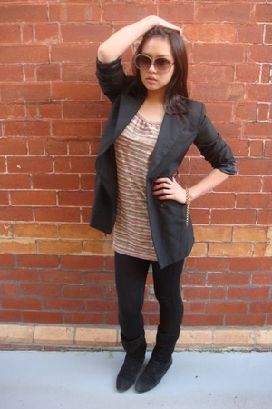 vintage blazer - Sportsgirl leggings - Chinese Laundry boots - Madame Hawke by R