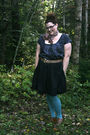 Gray-stefanie-bezaire-blouse-black-stefanie-bezaire-skirt-brown-vintage-belt
