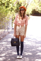 light pink thrifted shoes - carrot orange vintage hat - navy vintage bag - peach