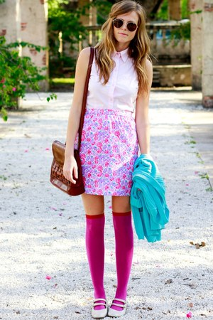 hot pink Tea and Tulips skirt - sky blue Tea and Tulips cardigan