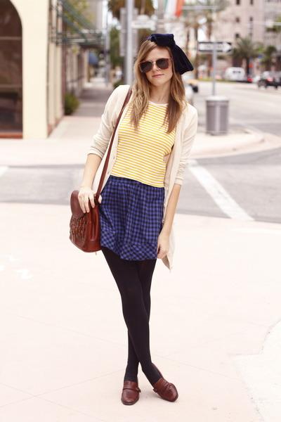 yellow thrift shirt - crimson vintage bag - blue thrift skirt - crimson vintage