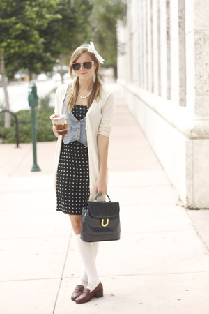 navy laundry dress - navy vintage bag - white Forever 21 socks