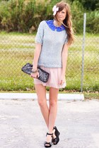 periwinkle Tea and Tulips blouse - black Wanted wedges