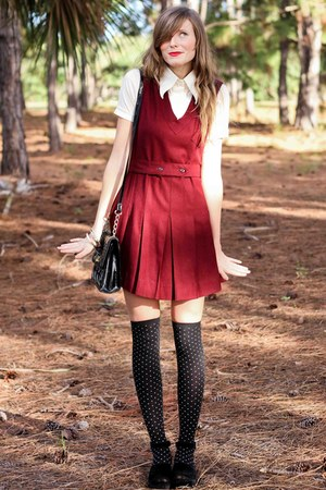 brick red Tea and Tulips dress - tan Tea and Tulips blouse