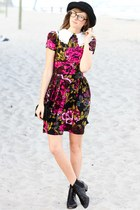 maroon Betsey Johnson dress - white Tea and Tulips blouse