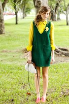 yellow Tea and Tulips blouse - dark green Tea and Tulips dress