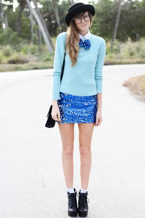 sky blue Tea and Tulips sweater