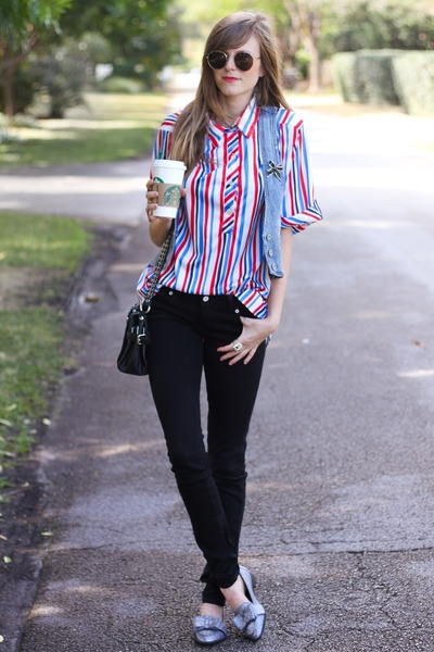 ruby red Tea and Tulips blouse - black 2020 Ave jeans