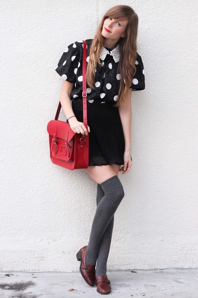 black Tea and Tulips blouse - red modcloth bag - white romwe accessories