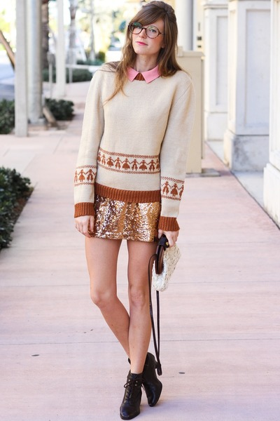 tan Tea and Tulips skirt - burnt orange Tea and Tulips sweater