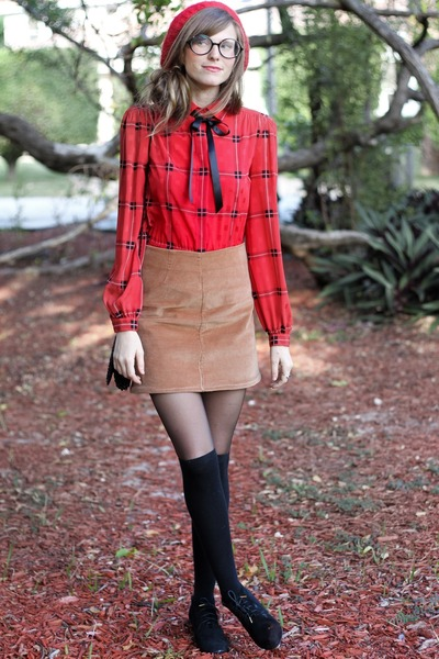 bronze Tea and Tulips skirt - red worn as blouse Tea and Tulips dress