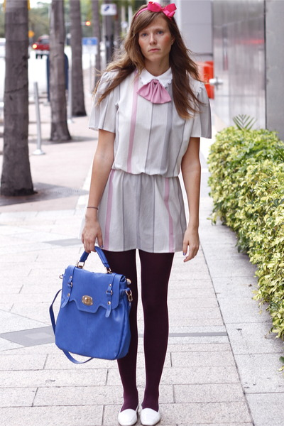 bubble gum Tea and Tulips dress - blue Francescas Collections bag