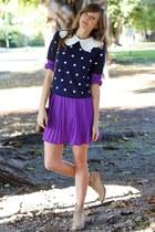 deep purple Tea and Tulips dress - navy Tea and Tulips sweater