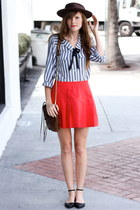 hot pink Tea and Tulips skirt - heather gray Tea and Tulips blouse