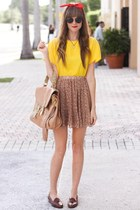 mustard romwe skirt - yellow Tea and Tulips blouse