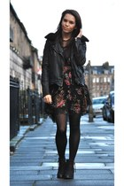 D&G dress - Topshop boots - Muubaa jacket