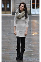 Miss Kg boots - Urban Outfitters dress - hollister scarf