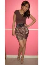 Topshop shirt - bazaar find skirt - Charles & Keith shoes