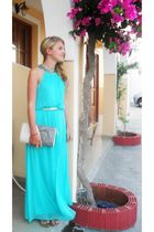 blue H&M dress - gray Primark purse