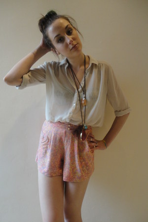 ivory sheer Primark shirt - peach jersey Very shorts