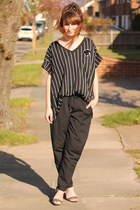 black baseball shirt H&M top - black leather detail Primark pants