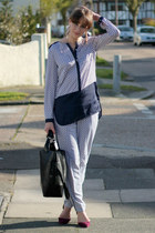 magenta Zara shoes - blue H&M shirt - black Zara bag - blue H&M pants