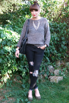 heather gray knit vintage jumper - dark khaki flatforms H&M shoes