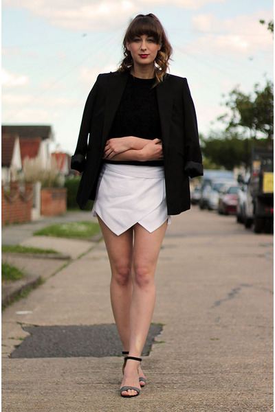 black thrifted blazer - black thrifted top - black Primark heels