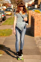 navy highwaisted Topshop jeans - white stripes Topshop top