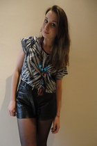 black leather pants DIY shorts - blue open back Primark top - brick red natural