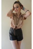 salmon silk Very shirt - black leather DIY shorts
