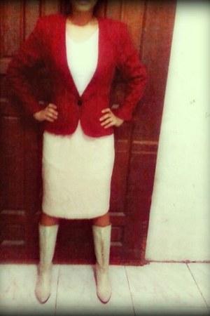 eggshell Charles & Keith boots - ruby red Mango blazer - cream Topshop skirt