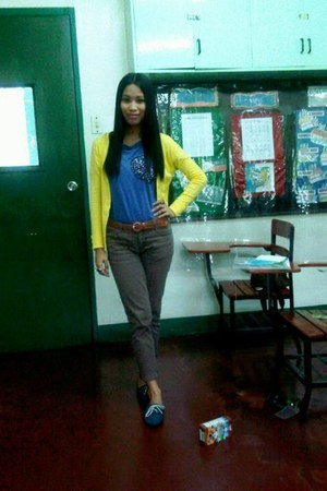 yellow St Francis cardigan - navy brouges St Francis shoes - blue KPark top