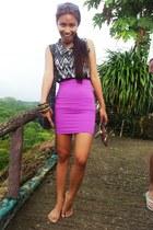 magenta bandage KPark skirt - crimson i2i sunglasses - brown Celine sandals