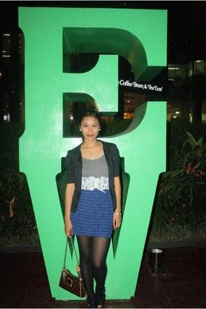 Thrift Store skirt - Mango blazer - tank top Forever21 top - geniveve belt