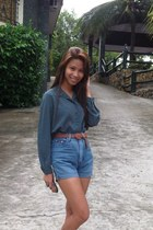 brown Tomato belt - blue high waisted KPark shorts