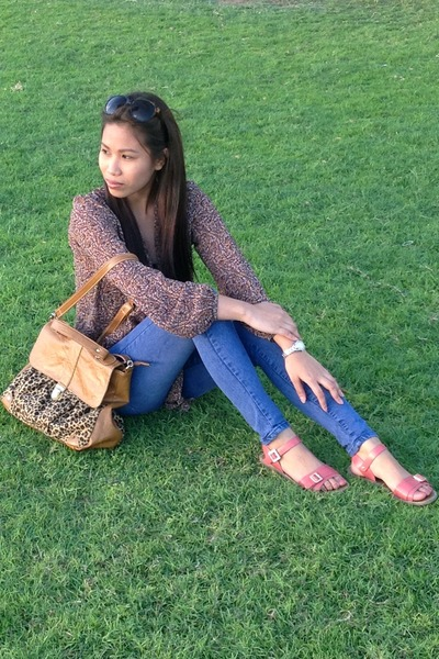 brown random from singapore bag - blue Levis jeans - salmon Payless sandals
