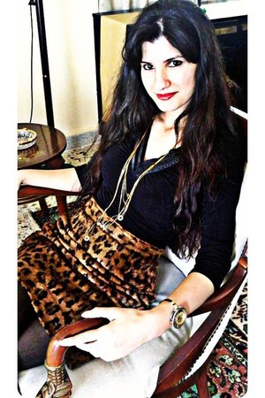 black tights - faux fur tiger vintage skirt - black silk top - gold necklace