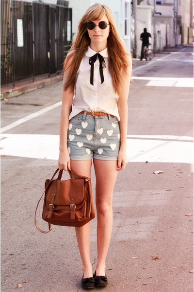 white Tea and Tulips blouse - blue Choies shorts