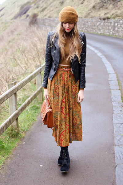 burnt orange vintage skirt