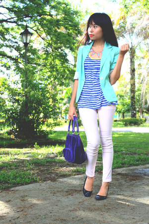 mint green Forever 21 blazer - purple Ralph Lauren bag - stripe Bayo top