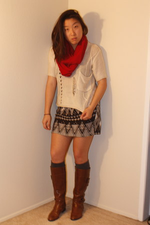 tawny Alfani boots - red infinity scarf - charcoal gray Target socks
