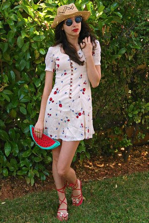 red watermelon DIY bag - white fruit print Koogul dress - eggshell Monsoon hat