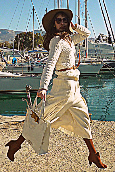 cream Ralph Lauren jumper - burnt orange H&M boots - camel H&M hat