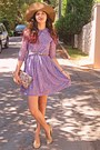 Light-purple-romwe-dress-camel-h-m-hat-eggshell-floral-bag