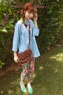 Hot-pink-floral-romwe-leggings-sky-blue-denim-shirt-brown-stradivarius-bag